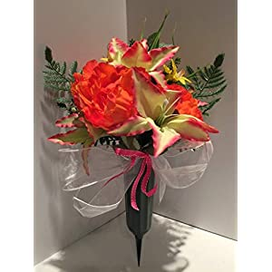 GRAVE DECOR - CEMETERY MARKER - FUNERAL ARRANGEMENT - FLOWER VASE - PINK & ORANGE PEONIES, LIGHT GREEN WITH PINK TIPS LILLIES, AND YELLOW TWEEDIA 105