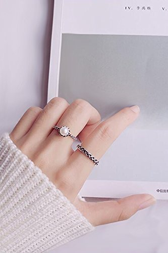 Generic S925 simple silver rings women girls lady retro knit freshwater pearl ring Thai silver finger ring ring opening gifts by Generic