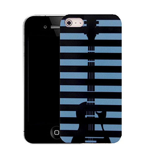 Mobile Case Mate IPhone 4s clip on Silicone Coque couverture case cover Pare-chocs + STYLET - guitar stripey pattern (SILICON)