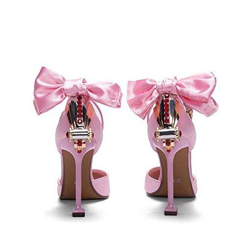 L@YC® Mujeres TacóN alto Verano CóModo Diamante Club Nocturno Sandalias Bien Con La Bola Gran TamañO De La Bomba Pink