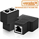 Ethernet Splitter,Andul RJ45 Female to 2 Female Y Splitter Coupler LAN Ethernet Network Splitter Adapter(Can Make Two Devices surf The Internet at The Same time)
