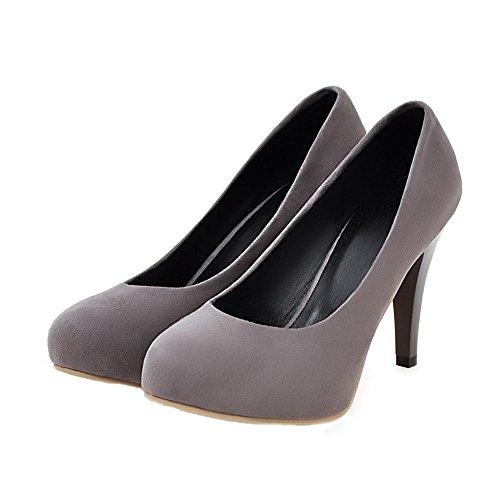 VogueZone009 Femme Couleur Unie Dépolissement Tire Rond Chaussures Légeres Gris 5PW4s