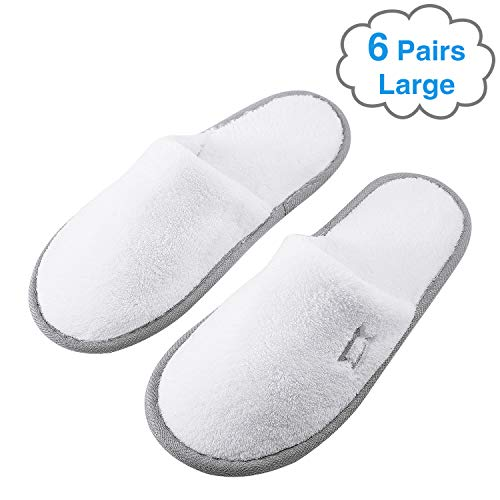 Foorame Spa Slippers, Indoor Hotel Slippers Closed Toe, Disposable for Men and Women, Fluffy Coral Fleece, Deluxe Padded Sole for Extra Comfort (Large Size, 6 Pairs)