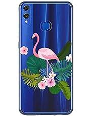 Oihxse Case Transparente Suave TPU Compatible con Huawei P20 Funda [Lindo Caricatura Flor Serie Dibujos] Cristal Protector Carcasa Anti Rasguños Bumper Cover-Flamenco