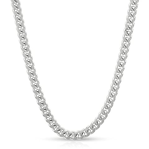 Sterling Silver Italian 3.5mm Miami Cuban Curb Link Thick Solid 925 Rhodium Necklace Chain 16