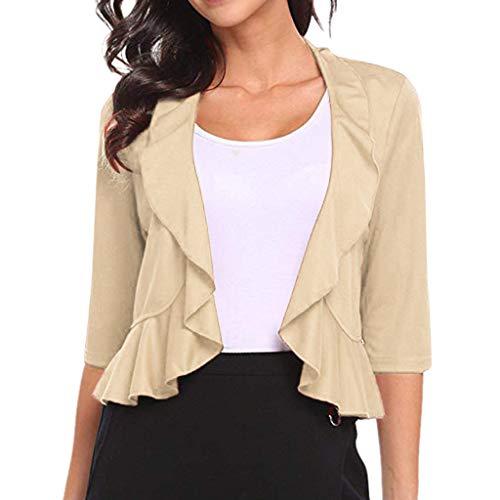 (Womens Shrugs Summer Sheer 3/4 Sleeve Open Front Bolero Cardigan Tops Ladies Short Flouncing Ruffles Peplum Coat Beige)