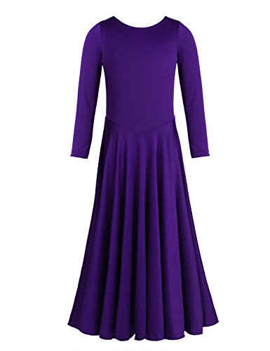 YiZYiF Big Girls Child Long Sleeve liturgical Full Length Long Sleeve Praise Dance Dress Purple 4