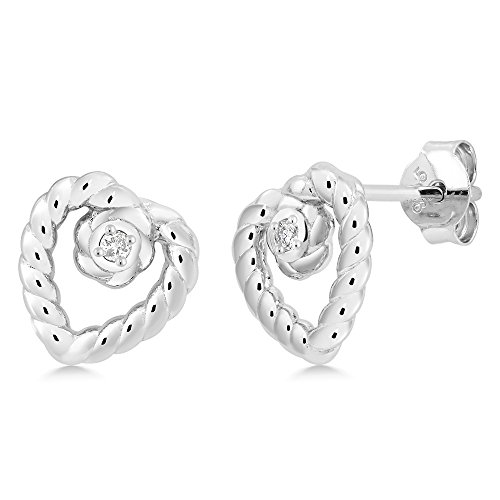 Diamond Antique Earring - Gem Stone King Gorgeous 925 Sterling Silver Antique Heart Shape Earrings With Diamond accent