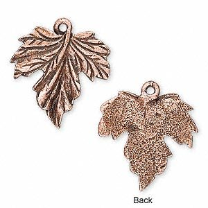 Charm antique copper-plated pewter (tin-based alloy) 20mm grape leaf-H20-6378FD