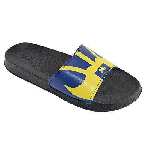 Men's Team Helmet Legacy Sport Shower Sandal Slides (XL 13-14, Michigan -