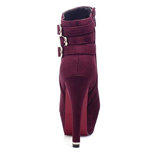 AIYOUMEI Toe Boots Autumn Buckles Red Platform Zipper Spike Side Heels Winter Round Women's Ankle qtH4Tfrt