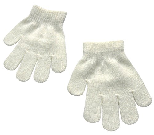 BaiX Little Kids Solid Winter Knitted Full Finger Gloves, 3-8 Years Old, White