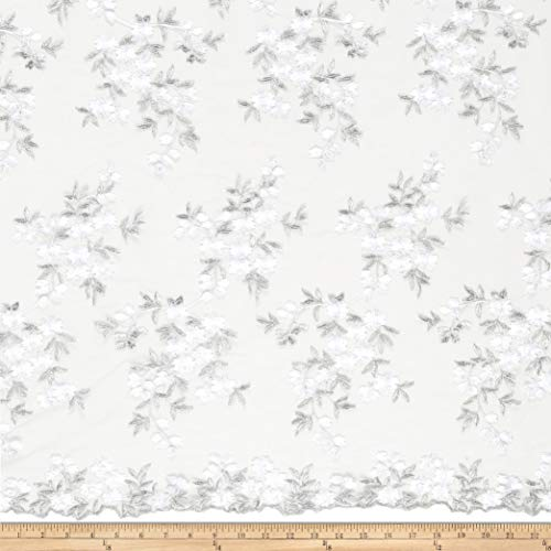 Starlight Embroidered Nebraska Sheer White/Silver Fabric Fabric by the Yard ()