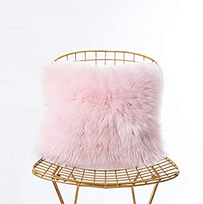 Foindtower Mongolian Plush Faux Fur Square Decorative Throw Pillow Case Cushion Cover New Luxury Series Merino Style for Livingroom Couch Sofa Nursery Bed Home Decor 18x18 Inch (45x45cm)