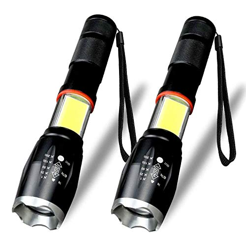 LED Flashlight, Vnina Tactical Flashlights Super Bright 6 Light Modes 1200 Lumen LED Torch Light, Zoomable Adjustable Focus Portable Water Resistant for Outdoor Hiking Camping Emergency, 2 Pack