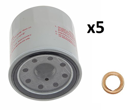 5 Genuine Engine Oil Filters 1520865F0E and 5 Stone Washers 1102601M02 Stone for Nissan 370Z Altima Cube Frontier Maxima Rogue Genuine / Stone