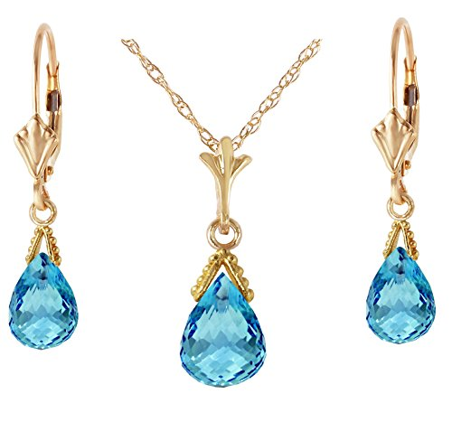 (Galaxy Gold 14k Yellow Gold Jewelry Set: Natural Briolette Blue Topaz 18