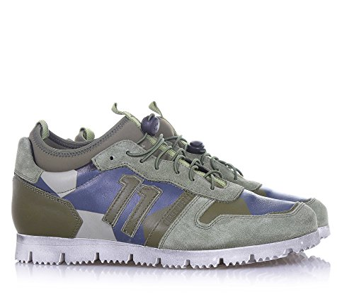BIKKEMBERGS - Grüner Schuh mit Schnürsenkel, aus Wildleder und Stoff, Lederapplikationen, sichtbare Nähte und Gummisohle, Jungen