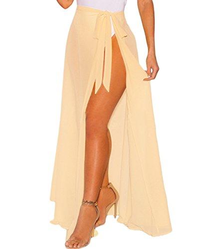 Lalagen Womens Wrap High Waist Summer Beach Cover Up Maxi Skirt Lemon One Size