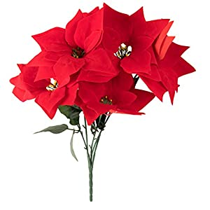 Juvale Red Poinsettia Christmas Decorations - 4-Pack Decorative Flowers with Stem, Artificial Plant and Christmas Tree Ornament for Home Office Decoration 4