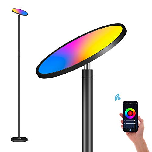Led-vloerlamp, dimbaar, smart plafondschijnwerper, 35 W, RGBCW, 2700 K-6500 K, aanraakbediening en app-bediening…