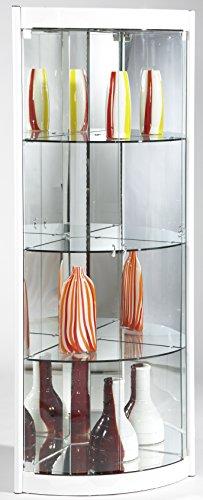 Milan Kaleigh Corner Curio with Mirror Interior, White by Milan