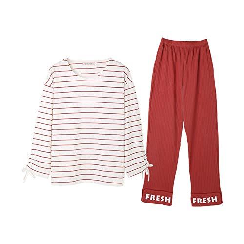 Piezas Cálido Confortable Manga Casual Pantalón Larga Otoño Mujer Primavera Deportivo De M Baujuxing Traje Pijamas Y Servicio 2 L Algodón gqFnwTFSxP