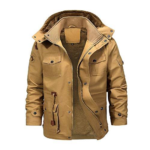 Frieed Mens Hoodie Winter Jacket Sherpa Windbreaker Fleece Lined Trenchcoat