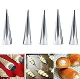 Godagoda Conical stainless steel Danish great screw tube anode horn bag tool horn bag mold baking tool;5pcs
