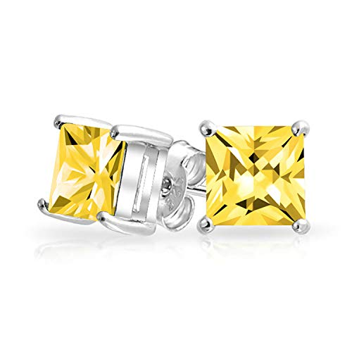 2CT Canary Yellow Square Cubic Zirconia Brilliant Princess Cut AAA CZ Stud Earrings 925 Sterling Silver Simulated Topaz