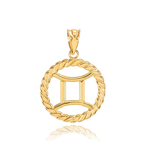 Gold Gemini Zodiac Pendant (High Polish 10k Yellow Gold Roped Circle Zodiac Sign Personalized Gemini Charm Pendant)