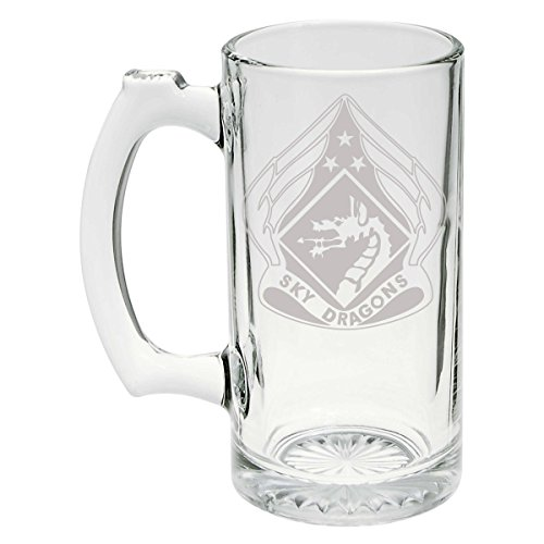 US Army - 18th Airborne Corps DUI - Sky Dragons Patch Etched Stein Glass 25oz, Mug - Patch Military Dui