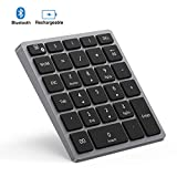Bluetooth Numeric Keypad Rechargeable, Jelly Comb Portable Wireless Bluetooth 28-Key Number Pad with Multiple Shortcuts for Tablet, Laptop, Notebook, PC, Desktop and More (Grey)
