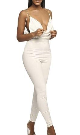9bda36f236d4 chenshijiu Women s Low-Cut Deep V-Neck Spaghetti Strap Sexy Open Back  Jumpsuits Rompers