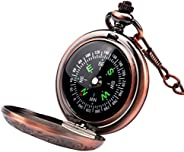 Laupha Survival Gear Compass Vintage Pocket Compass for Kids Classical Collection Portable Compass Accurate Wa