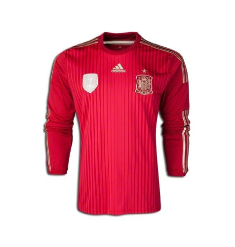 Adidas Spain World Cup 2014 Mens Home Long Sleeve Soccer Jersey (Large)