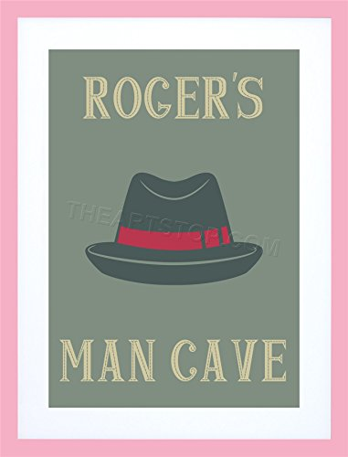 PERSONALISED MAN CAVE TRILBY HAT FRAMED PRINT GIFT BIRTHDAY XMAS (Print Trilby Hat)