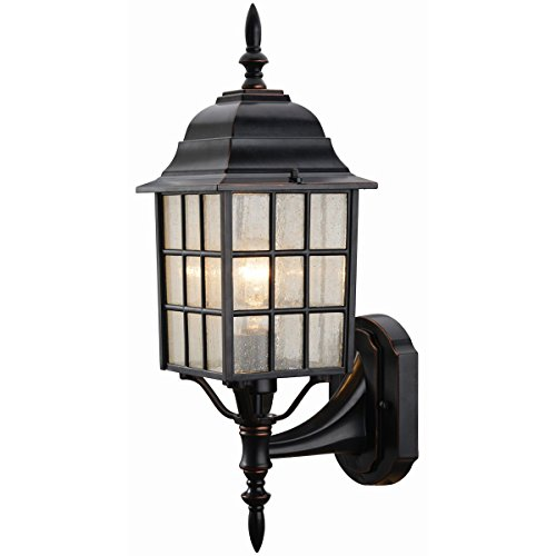 Hardware House 19-1555 Oil Rubbed Bronze Outdoor Patio / Porch Wall Mount Exterior Lighting Lantern Fixture with Seedy Glass