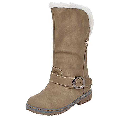 COPPEN Christmas Women Snow Boot Winter Martin Suede Buckle Strap Shoes