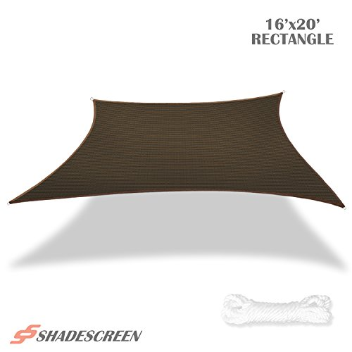 Shade Screen 16' x 20' Sun Shade Sail for Patio Backyard Deck UV Block Fabric - Rectangle Brown by Shade Screen