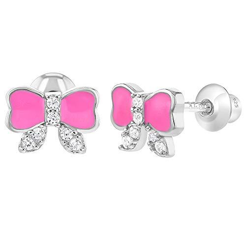 925 Sterling Silver Pink Enamel Clear CZ Bow Ribbon Screw Back Girls Earrings