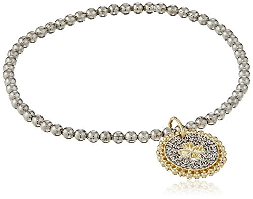Sterling Silver White Diamond Stretch Bead Clover Cut Out with Charm Bracelet