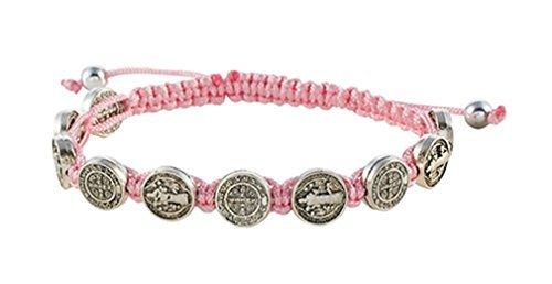 - Saint St Benedict Medal on Adjustable Cord Bracelet, 8 Inch, Pink