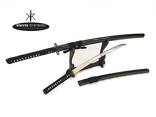 Full Tang Japanese Katana Wakizashi Handmade Sword Set w/ Musashi Tsuba & Stand - Knives Remembered -