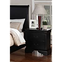 Beautifully Designed Nightstand with 2 Drawers in Black, 22 x 15 x 24 H