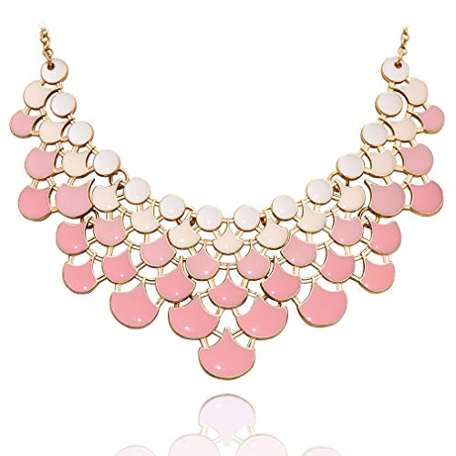 (JANE STONE Fan Statement 2019 Fashion Resin Frontal Bib Peach Puff Peacock Necklace Popular Jewelry)