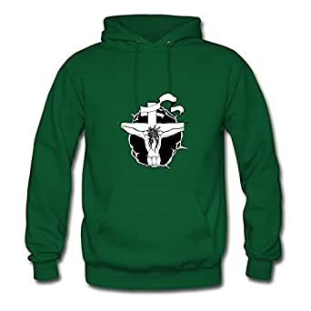 Women Hoody Christ Crucified Image For O-neck Hoodies-green X-large