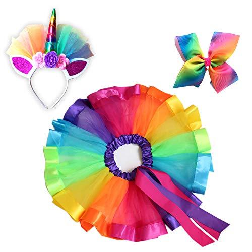 3 Piece Set - Girls Layered Rainbow Tutu Dress Up Skirts with Unicorn Horn Headband and Rainbow Bow, Princess -