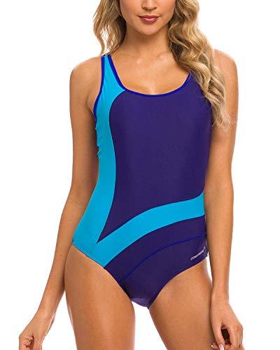 StarTreene Women Athletic One Piece Swimsuits Racerback Swimwear Bathing Suit (Navy/Blue, X-Large)