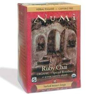 Numi Tea Ruby Chai Herbal Tea, 18 Tea Bags per Box (Pack of 3 Boxes) Ruby Chai Tea